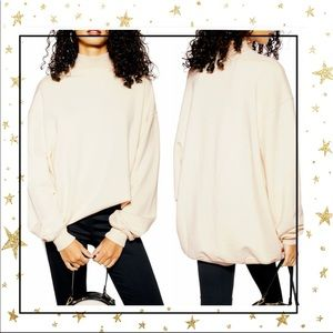Topshop mock neck oversized cream sweatshirt (C6)